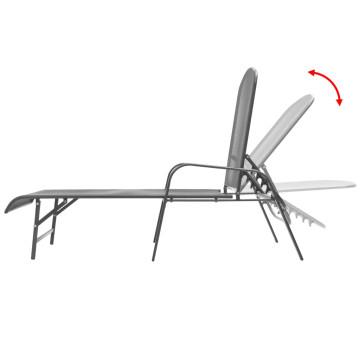 2 db antracitszürke acél napozóágy asztallal - ingyenes szállítás