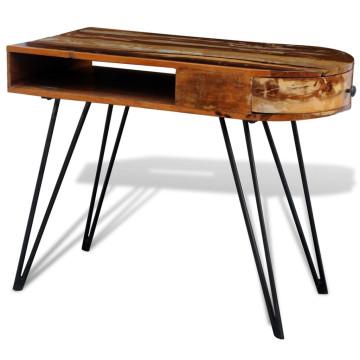 Antikolt hatású tömör fa íróasztal vaslábakkal - utánvéttel vagy ingyenes szállítással