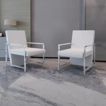 2 db fehér műbőr fotel króm vázzal - ingyenes szállítás