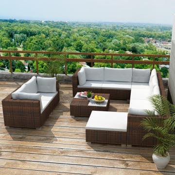 10-részes barna polyrattan kerti bútorszett párnákkal - ingyenes szállítás
