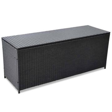 Fekete polyrattan kerti tárolóláda 150 x 50 x 60 cm - ingyenes szállítás
