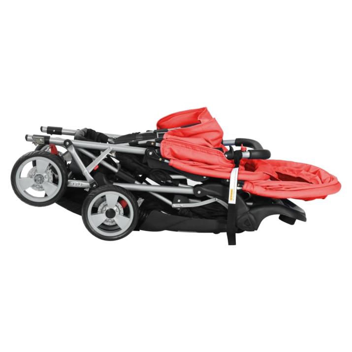 Acél tandem babakocsi piros és fekete - ingyenes szállítás