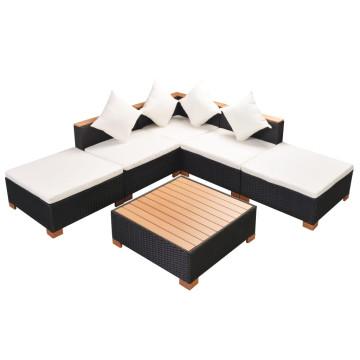 6-részes fekete polyrattan kerti bútorszett párnákkal - ingyenes szállítás