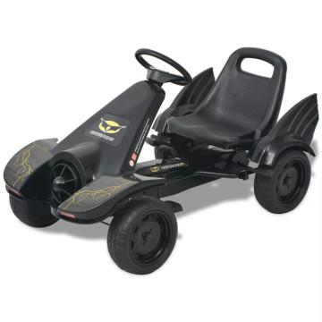 Pedálos gokart kocsi állítható üléssel fekete - ingyenes szállítás