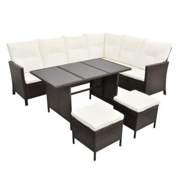 4-részes barna polyrattan kerti bútorszett párnákkal - utánvéttel vagy ingyenes szállítással