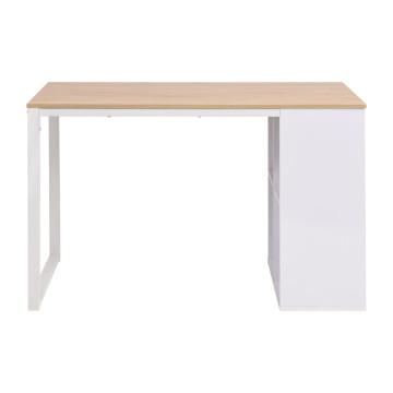 Tölgyfa/fehér színű íróasztal 120 x 60 x 75 cm - utánvéttel vagy ingyenes szállítással