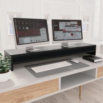 Fekete forgácslap monitorállvány 100 x 24 x 13 cm - utánvéttel vagy ingyenes szállítással
