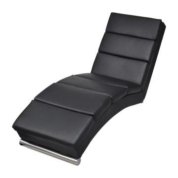 Fekete műbőr pihenőszék - ingyenes szállítás