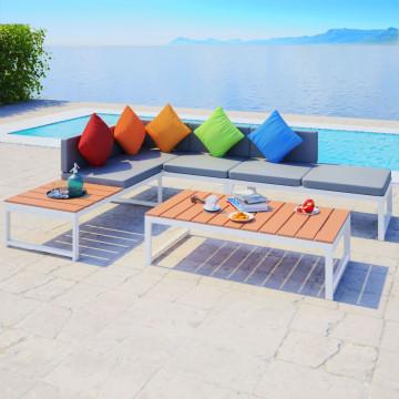 4 részes alumínium és WPC kerti ülőgarnitúra párnákkal - ingyenes szállítás