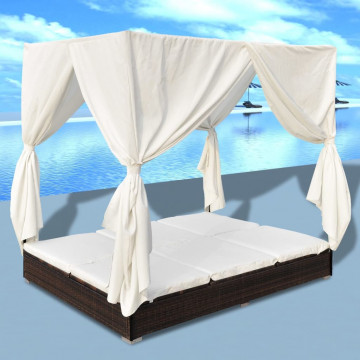 Barna polyrattan napozóágy függönyökkel - utánvéttel vagy ingyenes szállítással
