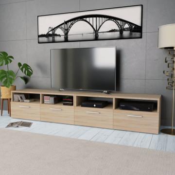 2 db tölgyfa színű faforgácslap TV szekrény 95 x 35 x 36 cm - utánvéttel vagy ingyenes szállítással