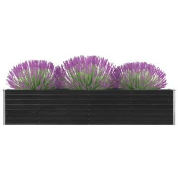 Antracitszürke horganyzott acél kerti virágtartó 320x40x45 cm - utánvéttel vagy ingyenes szállítással