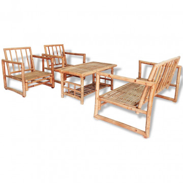 4-részes bambusz kerti bútorszett párnákkal - ingyenes szállítás