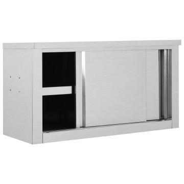 Rozsdamentes acél konyhai faliszekrény tolóajtókkal 90x40x50 cm - utánvéttel vagy ingyenes szállítással