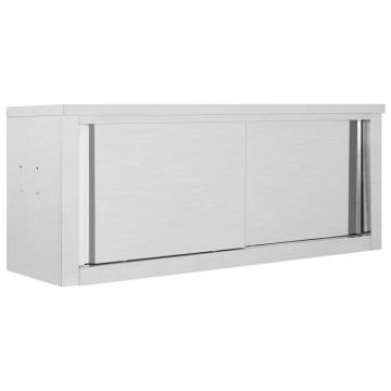 Rozsdamentes acél fali konyhaszekrény tolóajtókkal 120x40x50 cm - utánvéttel vagy ingyenes szállítással