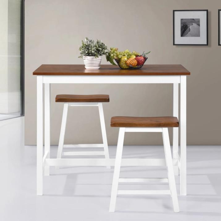 3 részes tömör fa bárasztal és szék szett - ingyenes szállítás