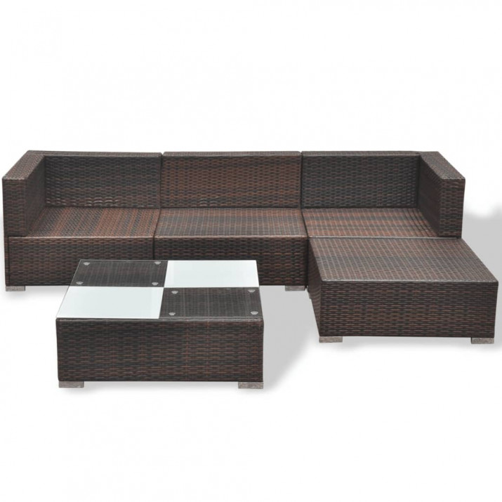 5-részes barna polyrattan kerti bútorszett párnákkal - ingyenes szállítás