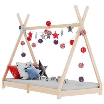 Tömör fenyőfa gyerekágy-keret 70 x 140 cm - utánvéttel vagy ingyenes szállítással