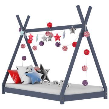 Szürke tömör fenyőfa gyerekágy-keret 70 x 140 cm - utánvéttel vagy ingyenes szállítással