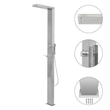Négyzet alakú rozsdamentes acél kerti zuhanypanel - utánvéttel vagy ingyenes szállítással