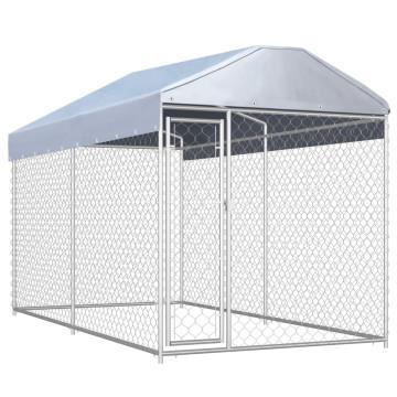 Kültéri kutyakennel ponyvatetővel 382 x 192 x 235 cm - utánvéttel vagy ingyenes szállítással
