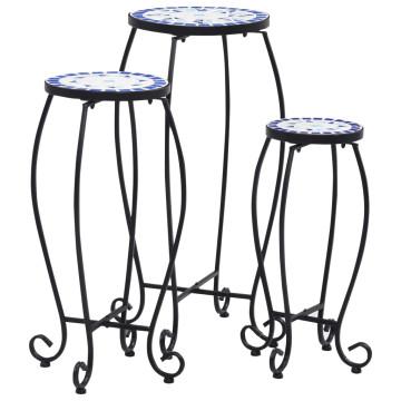 3 darab kék és fehér kerámia mozaikos asztal - utánvéttel vagy ingyenes szállítással