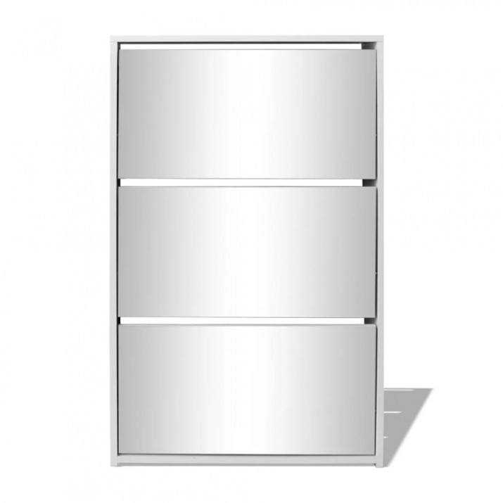 3 szintes fehér cipőszekrény tükörrel 63 x 17 x 102,5 cm - ingyenes szállítás