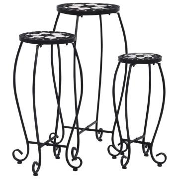 3 darab fekete és fehér kerámia mozaikos asztal - utánvéttel vagy ingyenes szállítással