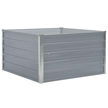 Szürke horganyzott acél kerti magaságyás 100 x 100 x 45 cm - utánvéttel vagy ingyenes szállítással