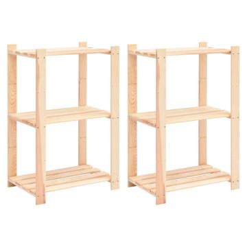 2 db 3-szintes tömör fenyőfa tárolópolc 150 kg 60 x 38 x 90 cm - utánvéttel vagy ingyenes szállítással