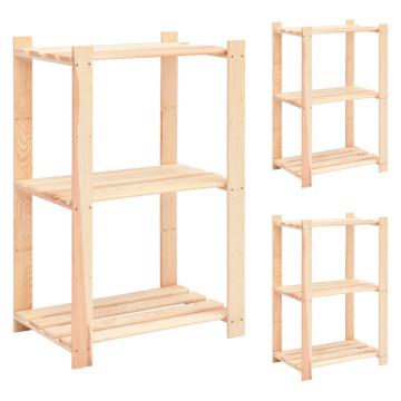 3 db 3-szintes tömör fenyőfa tárolópolc 150 kg 60 x 38 x 90 cm - utánvéttel vagy ingyenes szállítással
