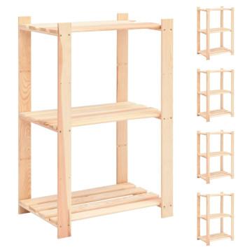 5 db 3-szintes tömör fenyőfa tárolópolc 150 kg 60 x 38 x 90 cm - utánvéttel vagy ingyenes szállítással