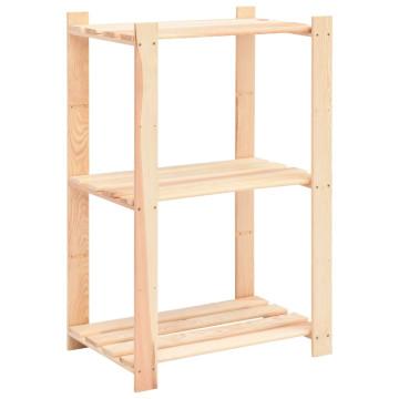 10 db 3-szintes tömör fenyőfa tárolópolc 150 kg 60 x 38 x 90 cm - utánvéttel vagy ingyenes szállítással