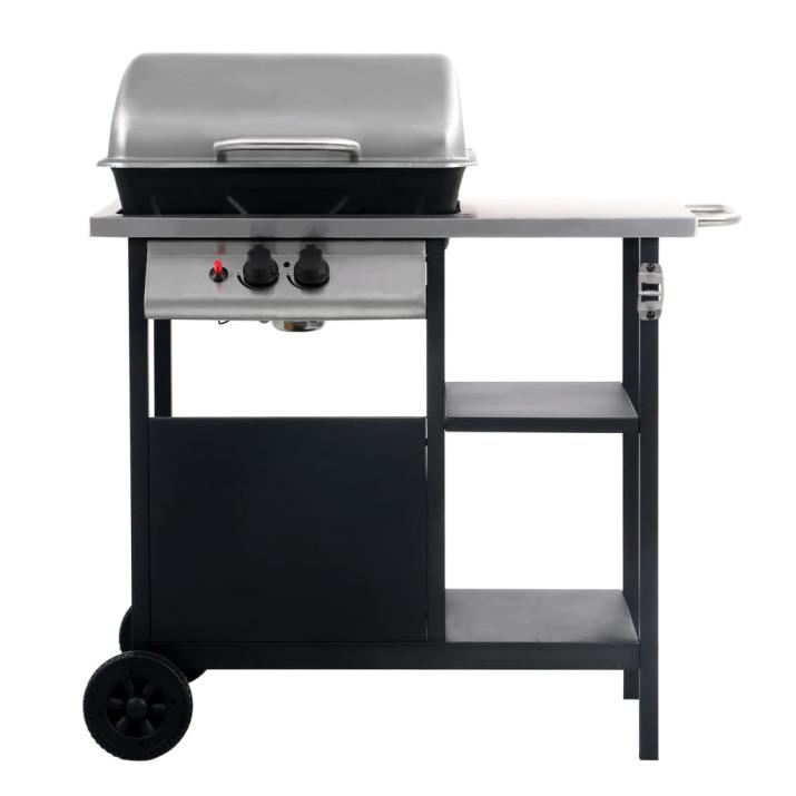 Fekete és ezüst gáz grillező 3 szintes kisasztallal - utánvéttel vagy ingyenes szállítással
