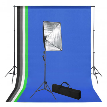 Fotóstúdió-felszerelés hátterekkel és softbox lámpával - utánvéttel vagy ingyenes szállítással