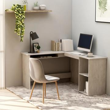 Betonszürke forgácslap L-alakú sarok-íróasztal 120x140x75 cm - utánvéttel vagy ingyenes szállítással