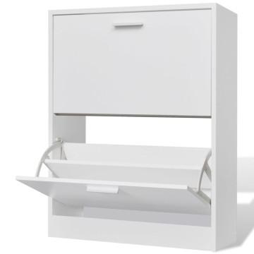 Fehér fa cipőszekrény 2 rekeszes - ingyenes szállítás