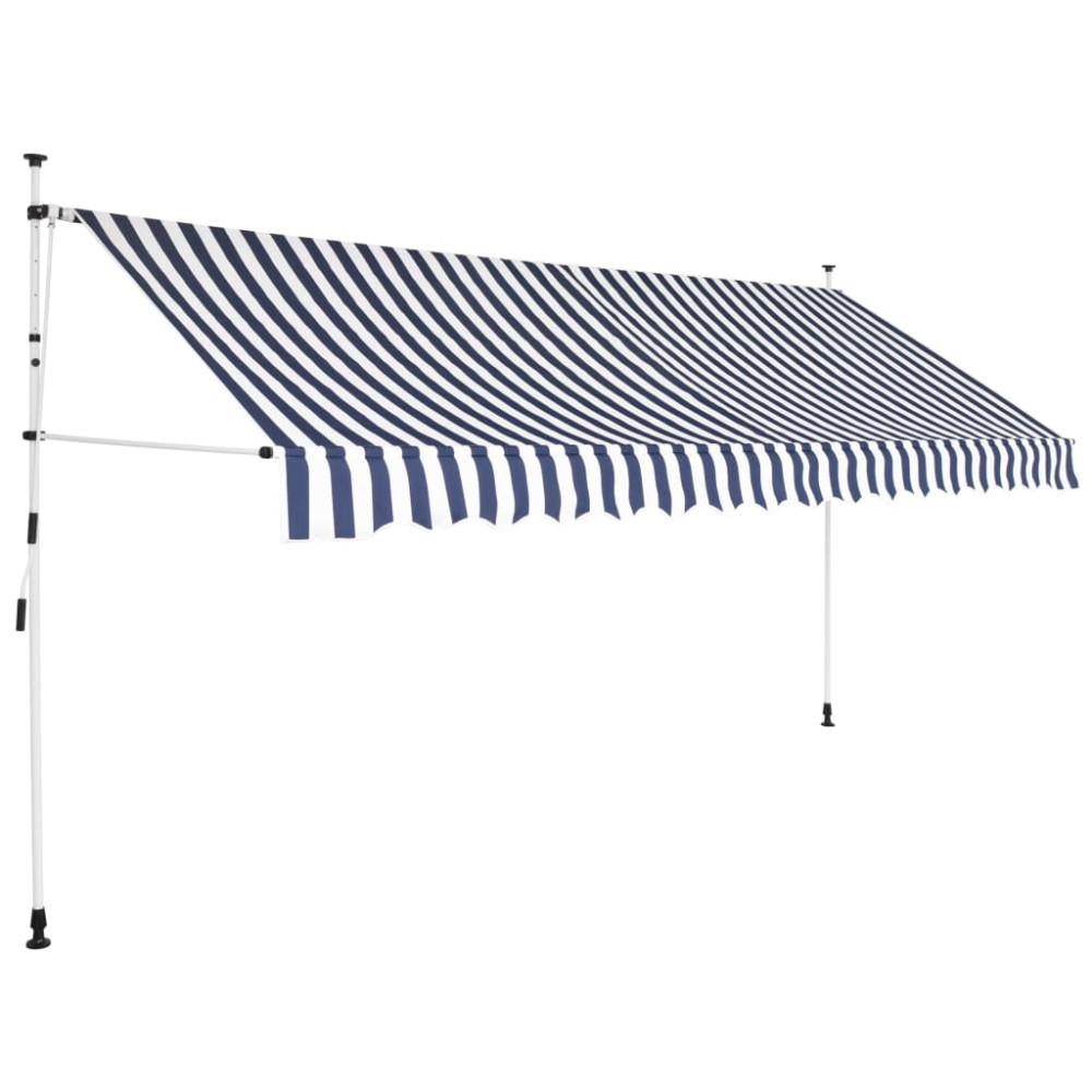 Kézzel feltekerhető napellenző kék-fehér csíkokkal, 350 cm - utánvéttel vagy ingyenes szállítással