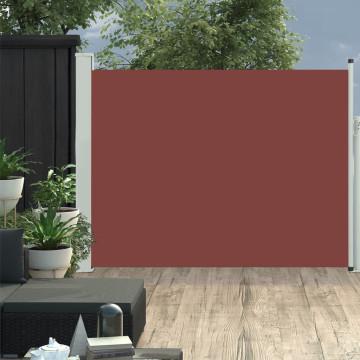 Barna kihúzható oldalsó teraszi napellenző 140 x 500 cm - utánvéttel vagy ingyenes szállítással
