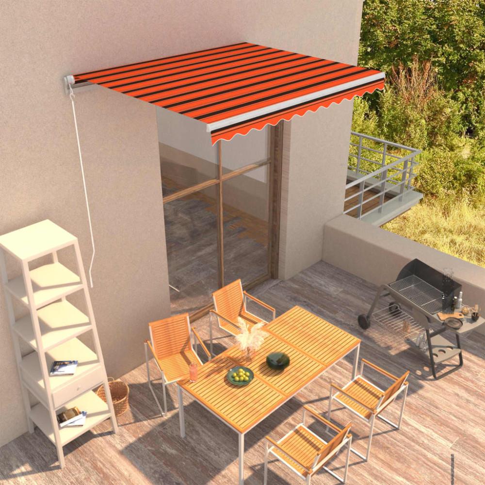 Narancssárga és barna kézzel kihúzható napellenző 300 x 250 cm - utánvéttel vagy ingyenes szállítással