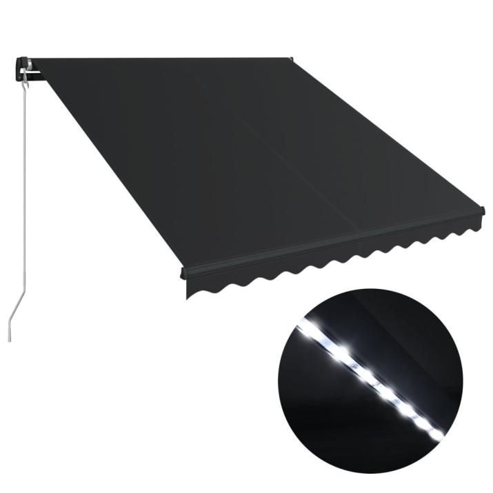 Antracitszürke kézzel behúzható LED-es napellenző 350 x 250 cm - utánvéttel vagy ingyenes szállítással