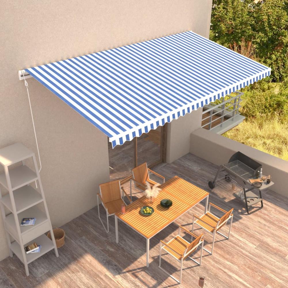 Kék és fehér automata napellenző 600 x 300 cm - utánvéttel vagy ingyenes szállítással