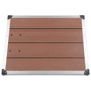Barna WPC és rozsdamentes acél kültéri zuhanytálca 80 x 62 cm - utánvéttel vagy ingyenes szállítással