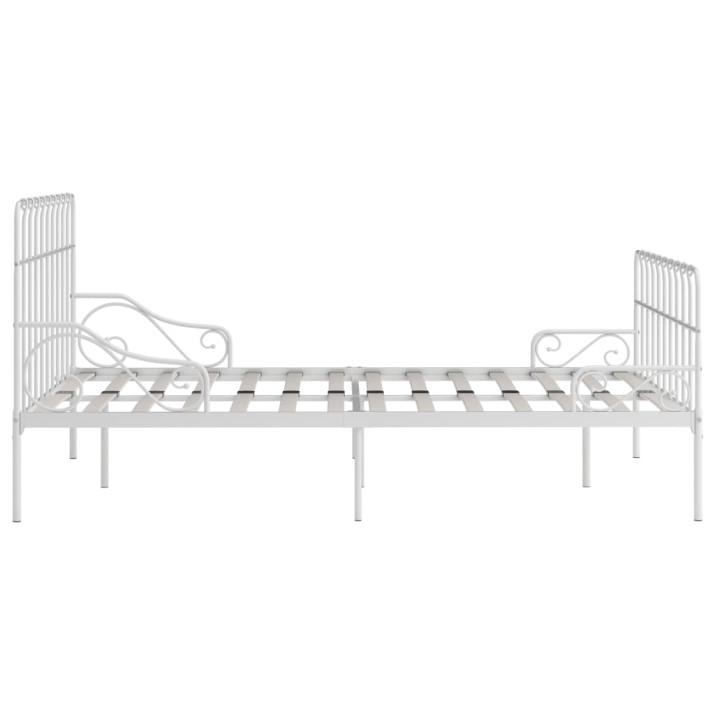 Fehér fém ágykeret lécezett ágyráccsal 140 x 200 cm - utánvéttel vagy ingyenes szállítással