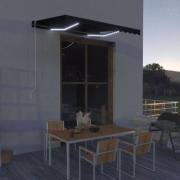 Antracit szélérzékelős és LED-es behúzható napellenző 300x250cm - utánvéttel vagy ingyenes szállítással
