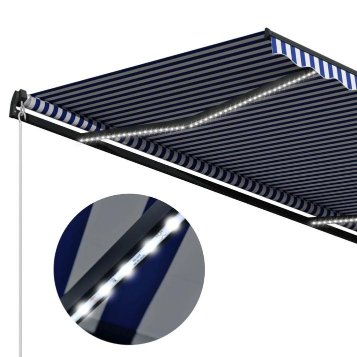 Kék és fehér szélérzékelős és LED-es napellenző 300 x 250 cm - utánvéttel vagy ingyenes szállítással