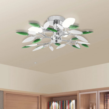 Mennyezeti lámpa fehér és zöld akril kristály levél karokkal 3 db E14 izzó - utánvéttel vagy ingyenes szállítással