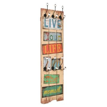 """Falra szerelhető fogas 6 akasztóval 120 x 40 cm """"LIVE LIFE"""" - utánvéttel vagy ingyenes szállítással"""