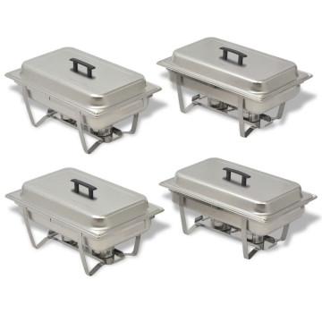 4 részes rozsdamentes acél chafing készlet - utánvéttel vagy ingyenes szállítással