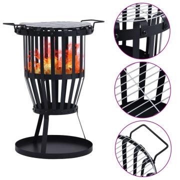 Rozsdamentes acél kültéri tűztál kosár grillráccsal 47,5 cm - utánvéttel vagy ingyenes szállítással